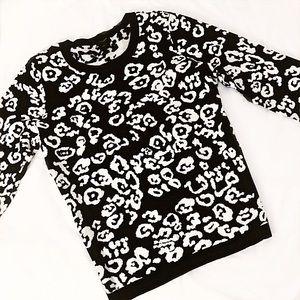♠️ Ann Taylor Cheetah Print Sweater Black & White